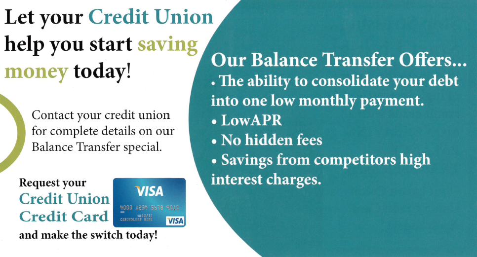 contact your credit union for complete details on our balance transfer special balance transfer offers consolidate debt into one low monthly payment - Visa Credit Card Balance